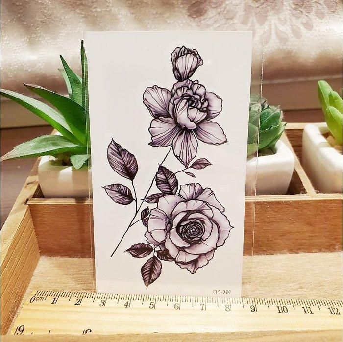 【萌古屋】枝葉玫瑰 - 男女防水紋身貼紙刺青貼紙QS-397 K12