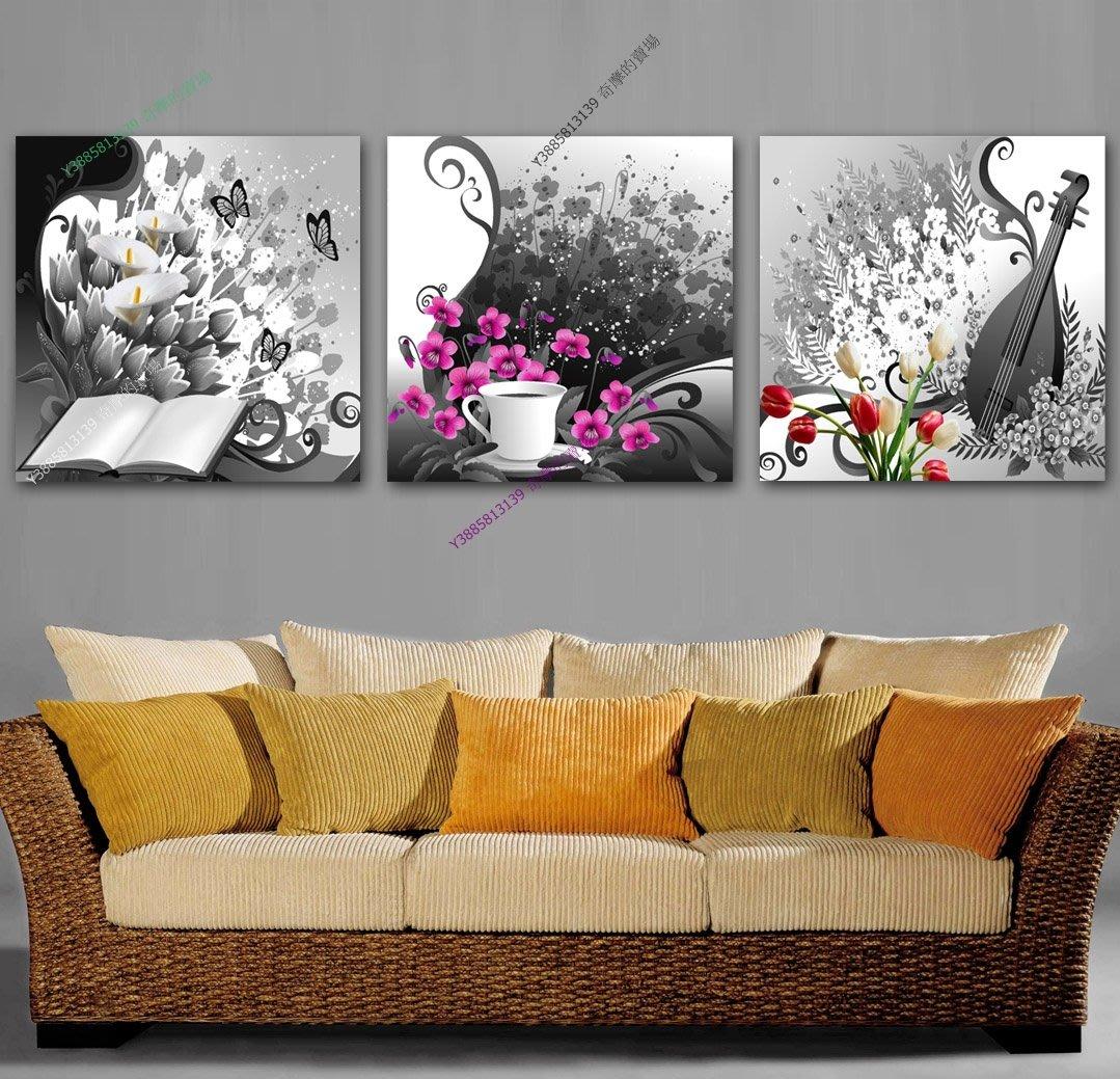 【70*70cm】【厚2.5cm】黑白調調-無框畫裝飾畫版畫客廳簡約家居餐廳臥室牆壁【280101_105】(1套價格)