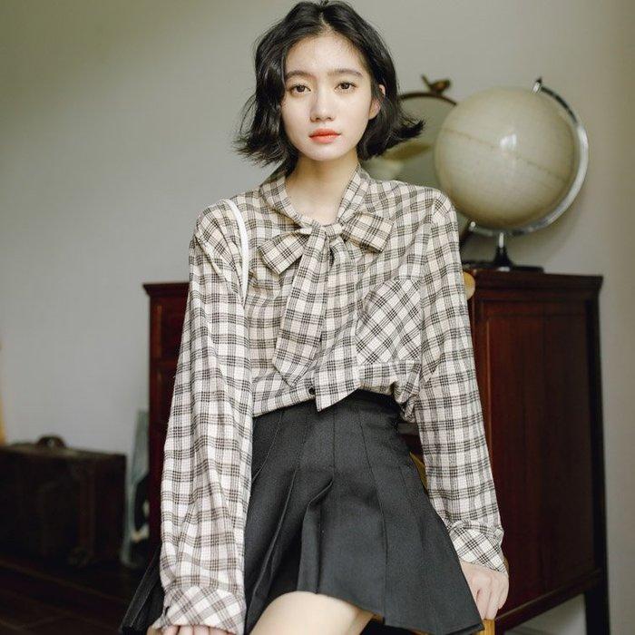 SeyeS 日系雜誌自然風古著設計感領結格紋襯衫