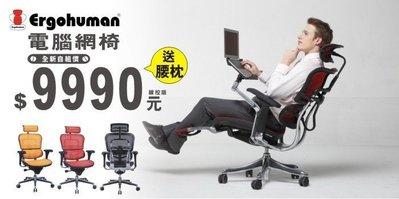 【電腦網椅】Ergohuman111人體工學網椅只要$9990元,暢銷冠軍電腦網椅,再送腰枕