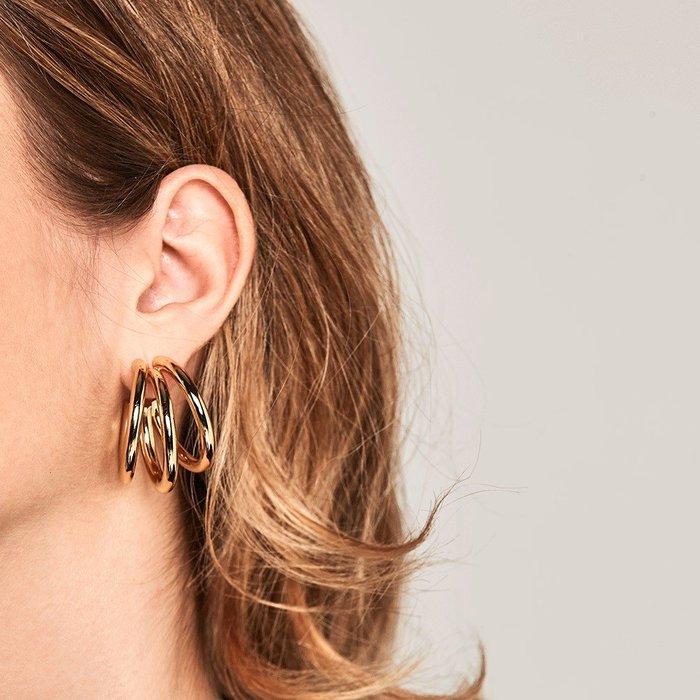 PD PAOLA 西班牙時尚潮牌 完美三環金色耳環 925純銀鑲18K金 TRUE