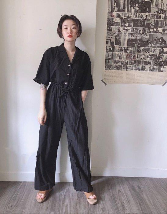 SeyeS 美式時尚簡約V領短袖連身寬褲