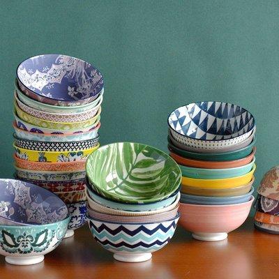 聚吉小屋 #熱賣#日式米飯碗釉下彩陶瓷4.7英寸小碗手繪描邊高顏值餐具家用吃飯碗(價格不同 請諮詢後再下標)