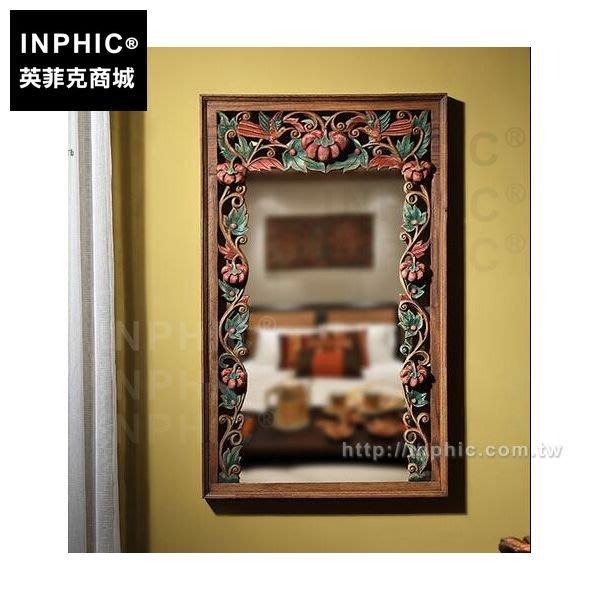 INPHIC-化妝鏡框彩繪花卉圖鏡框壁飾木質壁掛泰國泰式木雕東南亞_Rrun