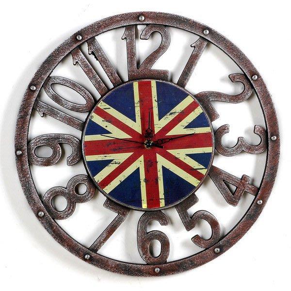 英倫風復古懷舊裝飾品創意鐘錶壁飾木質工藝品餐廳酒吧客廳掛鐘