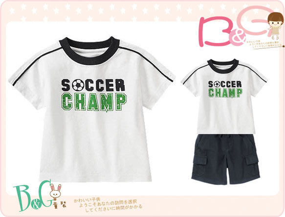 【B& G童裝】正品美國進口GYMBOREE足球圖樣白色短袖上衣12-18mos