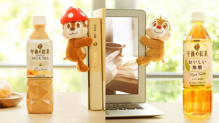 ☆Juicy☆日本 KIRIN 限量 午後紅茶 午後奶茶 限定聯名 奇奇 蒂蒂 松鼠 經典限定組 罐裝玩偶  整組收藏價