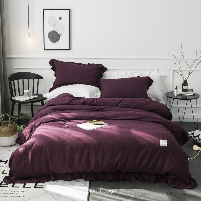 【Uluru】 歐美英法式 親膚好感 雙層荷葉花 標準雙人 四件式床包組 床單 床罩 加大雙人床包組 寢具四件套