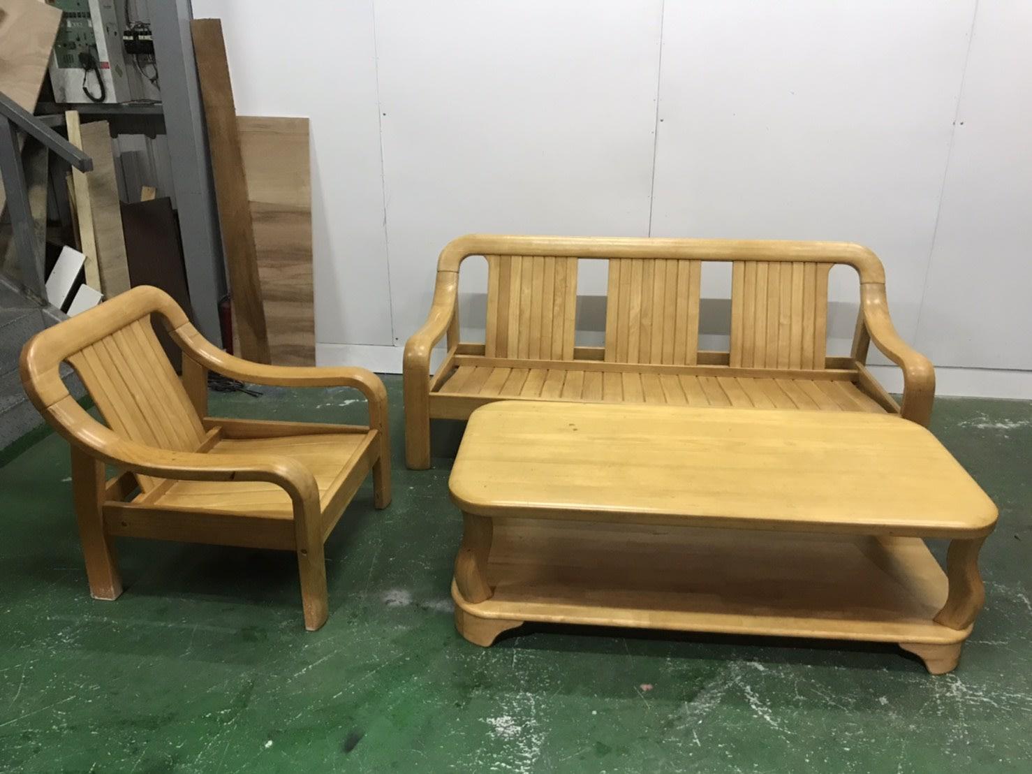 二手家具全省估價(大台北冠均 新五店)二手貨中心--舒適優雅實木椅1+3木沙發+大茶几 木製沙發組 SO-9102109