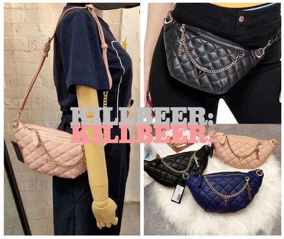 KillBeer:美國代購✈✈歐美復古GUESS品牌小香風菱格鏈條腰包胸包側背包 粉色/寶藍/黑色 現貨在台082717