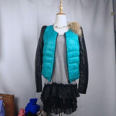 頭層綿羊皮袖羽絨外套 肩飾貉子毛真皮袖羽絨衣 圓領短款 現貨超低價出清 含運