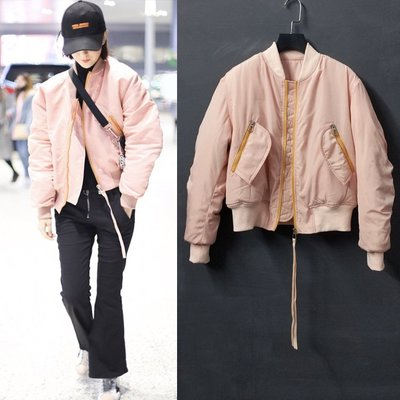 韓版外套夾克風衣 明星佟麗婭袁珊珊同款粉色飛行員夾克棉衣短外套女棒球服