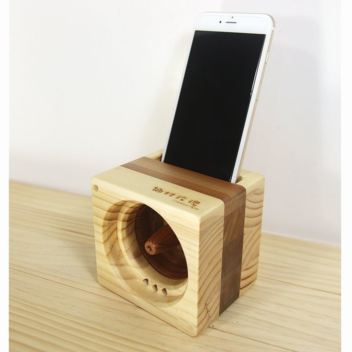 【鄉村玫瑰】 方塊吐司手機音箱-原木雙色.手機音箱.實木喇叭