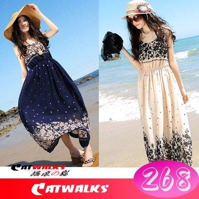 台灣現貨  * Catwalks 搖滾の貓 * 韓版優質雪紡無袖款度假風長洋裝 ( 深藍色、杏色 )