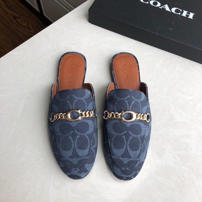 【小黛西歐美代購】COACH 寇馳 2020新款 懶人鞋 五金屬滿版LOGO 百搭休閒鞋3 時尚精品 美國連線代購