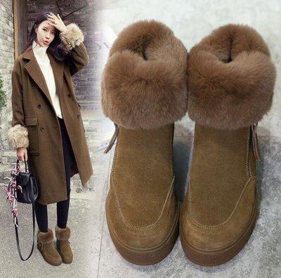 雪靴 短靴 韓版 真皮加絨厚底內增高兔毛雪地靴 短筒毛毛短靴子 棉鞋 馬丁靴—莎芭