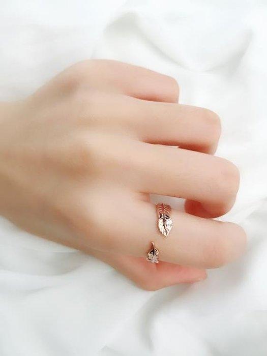 JG羽毛戒指chic戒指925純銀極簡少女心ins小眾設計戒指個性潮人