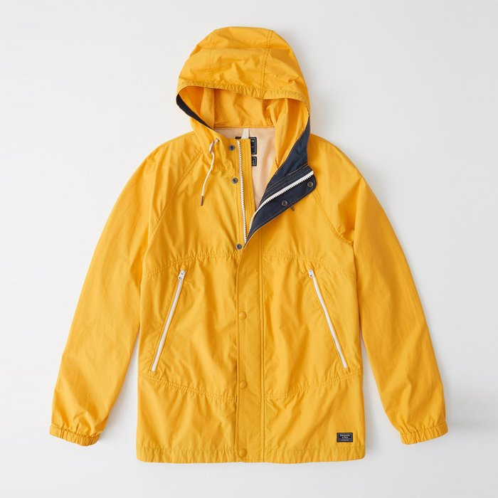 【Abercrombie&Fitch】【A&F】AF男款風衣外套薄款素小標亮黃 F04190321-02