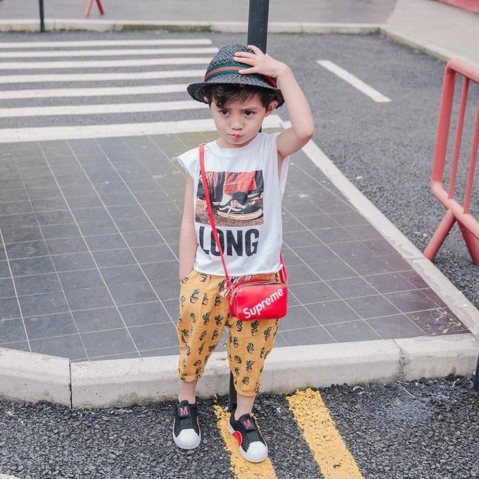 夏季 男童 印花背心條紋笑臉韓版圓領無袖潮夏裝小童小背心 兒童 汗衫