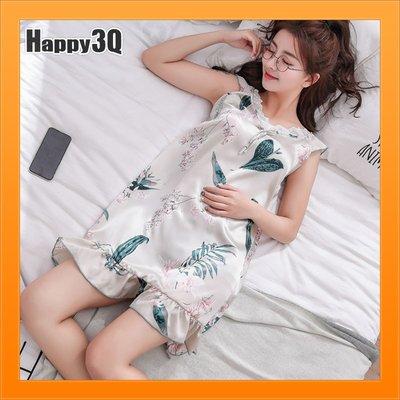 冰絲睡衣睡裙家居服小洋裝尺寸加大2XL寬鬆薄款睡衣-多色M-XL【AAA4738】