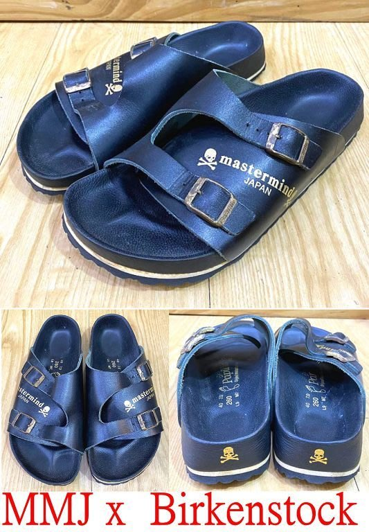 BLACK及新MASTERMIND JAPAN x  BIRKENSTOCK勃肯鞋WORLD燙金骷髏小牛皮拖鞋