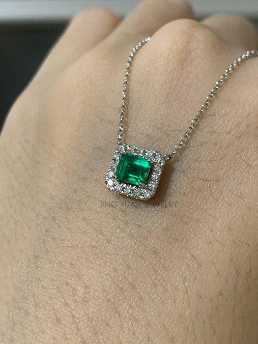 JING YUAN JEWELRY 哥倫比亞祖母綠18k鑽石鎖骨鏈0.54ct 顏色美美有亮度 戴上氣質上身 歡迎預約看現貨!!