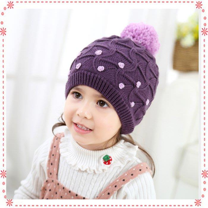 貝克比比屋☆秋冬款 紫色小花朵毛線帽/嬰幼兒毛線帽*1-3y、3-6y、6-8y