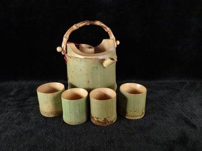 乖乖@賣場~天然竹製 台灣孟宗竹 青竹茶壺+4個茶杯組. 古早味擺飾 實用環保(ABC943)
