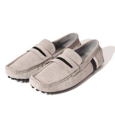 懶人鞋 真皮線條豆豆鞋-時尚休閒磨砂套腳男鞋子4色73kv89[獨家進口][米蘭精品]