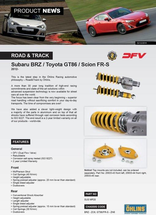 Subaru 速霸陸 BRZ FRS 2012+ 專用 瑞典 Ohlins Road & Track 避震器