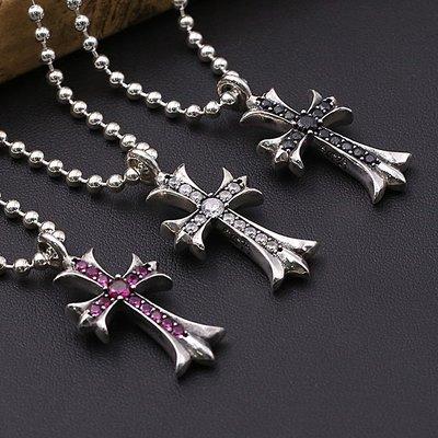 【H&M】03  S925純銀飾品復古泰銀朋克男女潮流時尚鑲鉆個性十字架吊墜