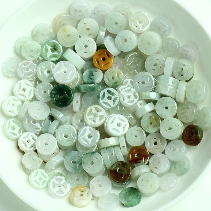【福寶堂】正品A貨DIY翡翠散珠配件批發 金錢扣玉石銅錢扣編織材料直徑約7-8mm(一組50顆)