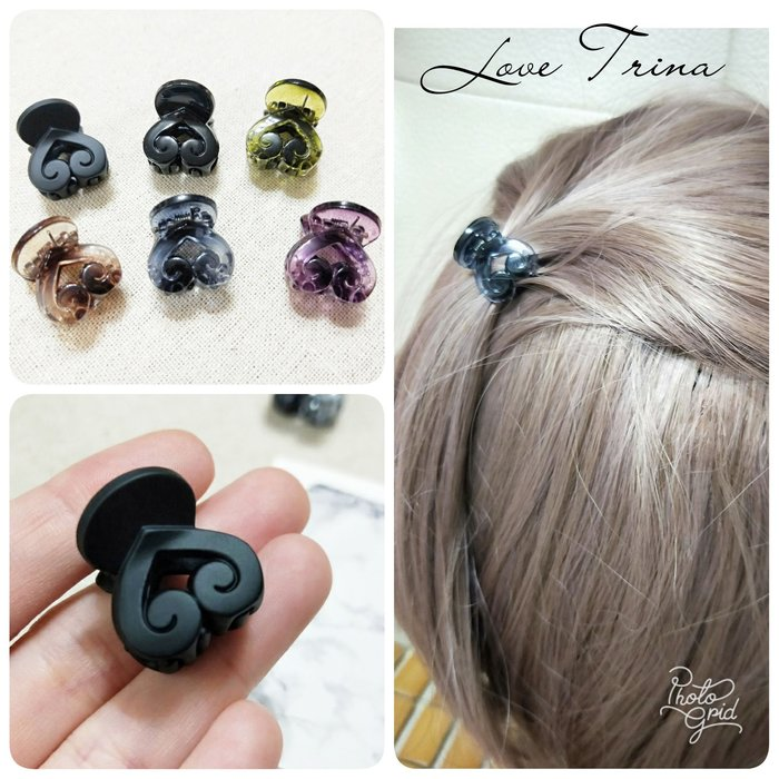 【Love Trina】韓國進口。正韓✈ 9901-0501。縷空愛心小抓夾。小鯊魚夾。髮飾 (6色)