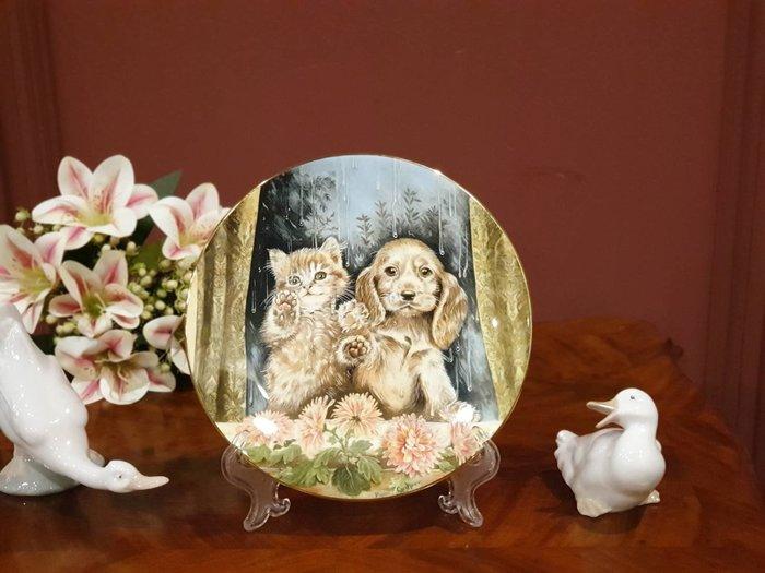 【卡卡頌 歐洲古董】英國  Royal Worcester  老件全新  甜蜜 貓貓狗狗  骨瓷  飾盤   p1496