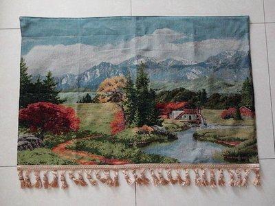 歐洲傳統布藝 棉麻織布 古典傳統掛畫 壁毯 掛毯 壁掛 寬100x高70公分 遠山流水