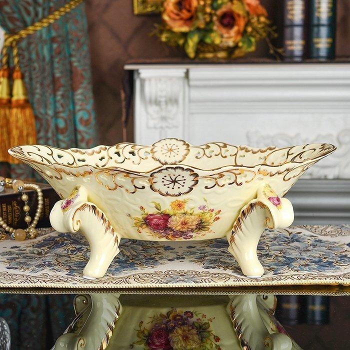 【優上精品】歐式果盤套裝 陶瓷水果盤 客廳家居美式現代裝飾品擺件大號(Z-P3150)