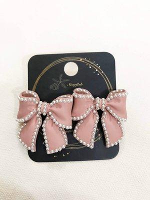 【海星 Starfish】?超立體奶茶粉色珍珠邊存在感大蝴蝶結?