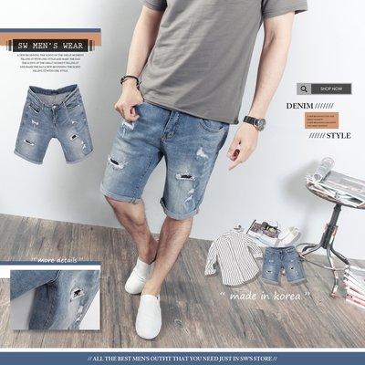 。SW。【K91687】正韓PES 韓國製 挺實彈性單寧布 褲頭有彈性  抽鬚內補丁破壞 藍刷紋 牛仔短褲 英倫 GD
