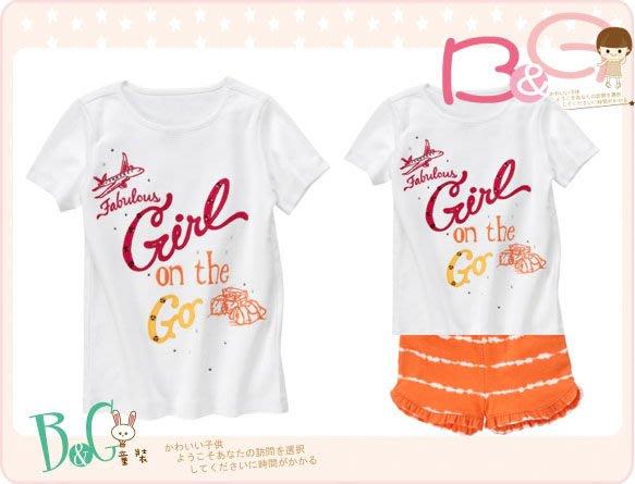 【B& G童裝】正品美國進口GYMBOREE Fabulous Girl On The Go Tee美妙的女孩白色短袖上衣5,6yrs