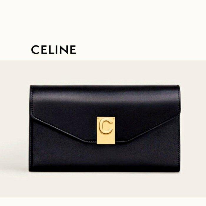 CELINE ►( 黑色×金屬金色)  真皮三摺長夾 錢包 皮夾|100%全新正品|特價