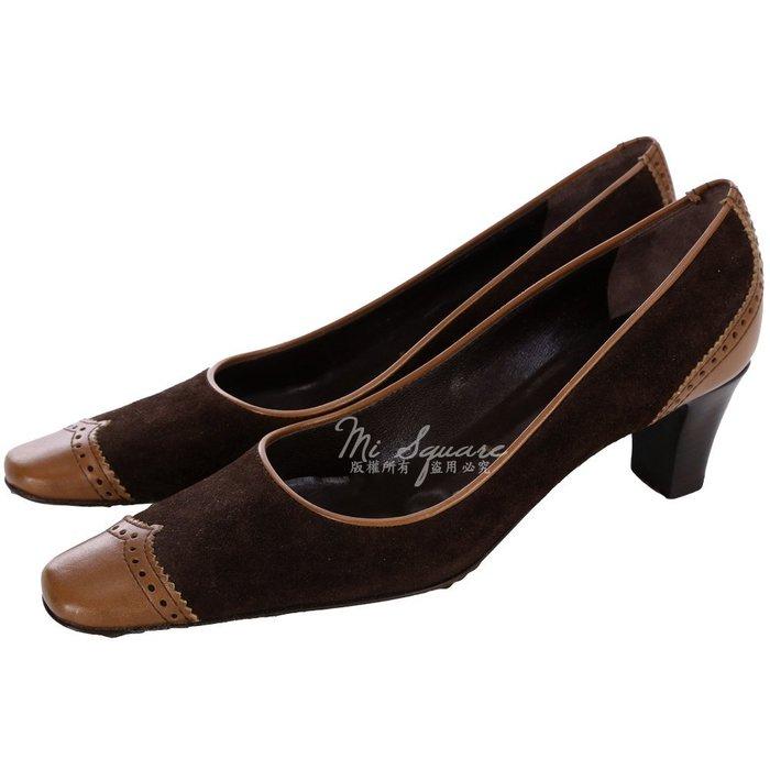 米蘭廣場 VICINI 咖棕色拼接設計雕花方頭低跟包鞋(展示品) 0510134-07