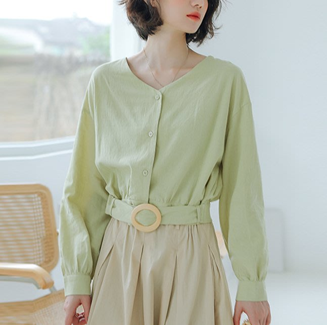 SeyeS 氣質復古基本款附腰帶綠色v領襯衫