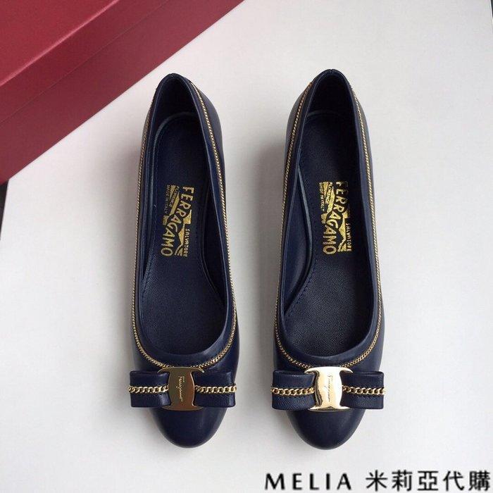 Melia 米莉亞代購 商城特價 數量有限 SALVATORE FERRAGAMO 蝴蝶結 跟高3CM 優雅設計 深藍色