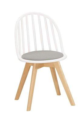 【風禾家具】FQM-1069-4@EDS白色布餐椅【台中1700送到家】書椅 耐衝擊PP材質 實木腳座 北歐風 傢俱