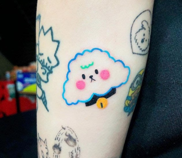 【萌古屋】】可愛棉花糖狗狗 - 防水紋身貼紙刺青貼紙 HC-3030