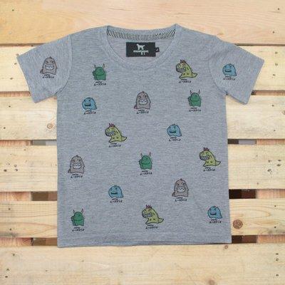 Carefree 童裝 純棉【灰色小怪獸 相撲恐龍】兒童T恤 短袖  夏裝 竹節棉 透氣 吸汗 兒童 夏季