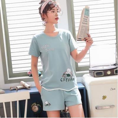 夏季睡衣睡衣女夏季純棉短袖短褲薄款韓版學生夏天閨蜜家居服兩件套裝CENX8997