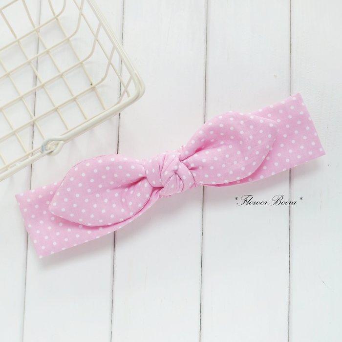 兔耳朵 頭帶 髮帶_粉紅點點 _花兒貝拉
