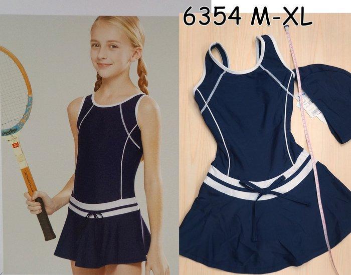 KINI 名人泳裝6354 大女童(可裝附胸墊)泳衣 連身裙- 少女休閒風 丈青 [適合微發育] 特價990元