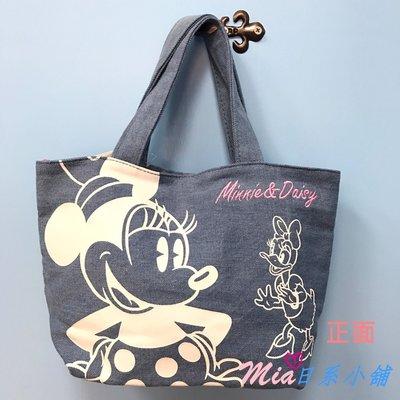 ☆Mia日系小舖☆【現貨】迪士尼 米妮&戴西單寧布手提袋 便當袋
